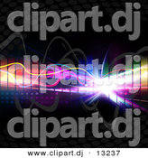 Clipart of a Colorful Equalizer with Bright Neon Lights, Lines over Black Background by Arena Creative