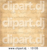 Clipart of a Distressed Background of Music Notes on Tan by