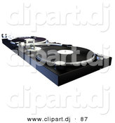 Clipart of a DJ Turntable with Vinyl Records by AtStockIllustration