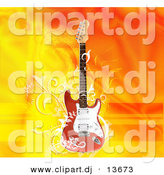 Clipart of a Electric Guitar over Flaming Orange Yellow Background by Andresr