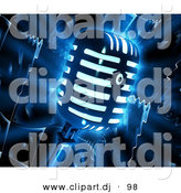 Clipart of a Glowing Retro Microphone over Dark Speaker Background by Tonis Pan