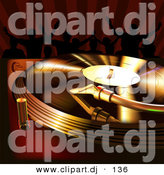 Clipart of a Golden Vinyl Record Spinning on a Turntable While People Dance in the Background by Dero