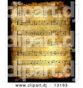 Clipart of a Grunge Sheet Music Background - Antique Version by BNP Design Studio