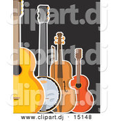 February 23rd, 2016: Clipart of a Guitar Banjo Violin and Ukulele on Black by Maria Bell