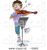 Clipart of a Happy Cartoon Black Boy Dancing While Playing a Violin by BNP Design Studio