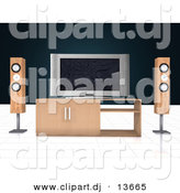 Clipart of a Home Theatre Setup with Widescreen Tv by
