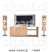 Clipart of a Home Theatre System with Wood Speaker Towers and a Widescreen Tv by