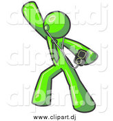 Clipart of a Lime Green Man Dancing and Listening to Music by Leo Blanchette