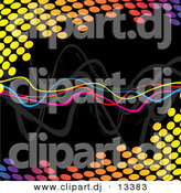Clipart of a Neon Squiggly Lines Within Colorful Halftone Equalizer Circles over Black Background by Arena Creative