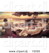 August 12nd, 2015: Clipart of a Painting of Ladies Watching a Man Playing a Flute, Idyll by Frederic Lord Leighton by JVPD