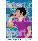 September 24th, 2015: Clipart of a Performing Male Singer over Blue and Spirals by Mayawizard101