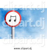October 27th, 2014: Clipart of a Round Music Note Sign Against a Blue Sky with Clouds by Prawny