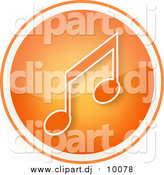 Clipart of a Shiny Orange Music Note Icon Button by YUHAIZAN YUNUS