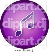 June 13th, 2015: Clipart of a Shiny Round Purple Music Note Icon Button by YUHAIZAN YUNUS