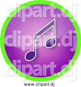 June 16th, 2015: Clipart of a Shiny Round Purple Music Note Icon Button Circled in Green by YUHAIZAN YUNUS