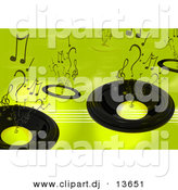 Clipart of a Speaker Background - Green Version with Music Notes by Andresr