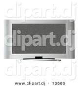 Clipart of a Television with White Noise on Screen by