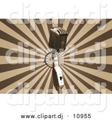 Clipart of a Vintage Microphone over a Bursting Brown and Tan Background by KJ Pargeter