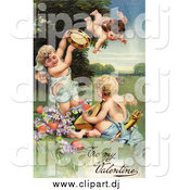 Clipart of a Vintage Valentine of Cherubs with Hearts Instruments and Purple Flowers, Circa 1906 by OldPixels