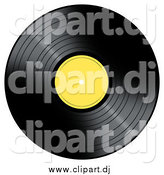 Clipart of a Vinyl Record with a Yellow Label by Oboy