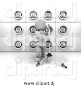 Clipart of a Wall of White Speakers and a 3d Singer by KJ Pargeter
