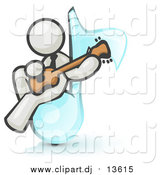 February 28th, 2016: Clipart of a White Man Musician Sitting on a Music Note and Playing a Guitar by Leo Blanchette