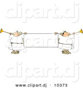 Clipart of Cartoon Angels Playing Horns While Holding Blank Sign by Djart