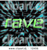 Clipart of Green Rave Text over Zooming Blue Lines in Hyperspace Background by Arena Creative
