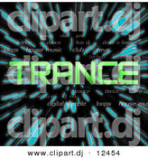 Clipart of Green Trance Text over Zooming Blue Lines in Hyperspace Background by Arena Creative