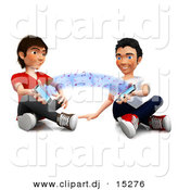 Clipart of Happy 3d Kids Sharing Music with Their Cell Phones by Andresr