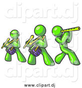 Clipart of Lime Green Men Playing Flutes and Drums by Leo Blanchette