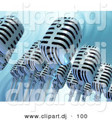 Clipart of Many 3d Retro Microphones over a Rippling Water Background by Tonis Pan
