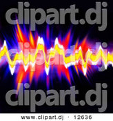 Clipart of Neon Audio Equalizer Waves over Black Background by Arena Creative