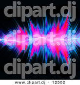 Clipart of Neon Pink and Blue Audio Vibrations over Black Background by Arena Creative