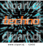 Clipart of Orange Techno Text over Zooming Blue Lines in Hyperspace Background by Arena Creative