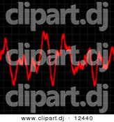 Clipart of Red Audio Waves Across Black Background by Arena Creative