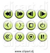 Clipart of Round Green and Black Recording Web Design Icons by Rasmussen Images