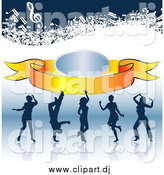 Clipart of Silhouetted Dancers on a Reflective Surface, with a Banner and Music Notes by MacX