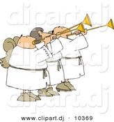 Clipart of Three Cartoon Angels Playing Horns by Djart