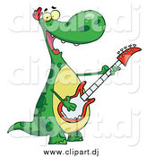 Vector Clip Art of a Cartoon Dinosaur Playing Guitar While Smiling by Hit Toon