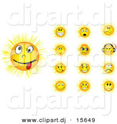 Vector Clipart of 13 Unique Yellow Cartoon Sun Smiley Faces - 1 Is Character Listenting to Music Through Wireless Headphones by Andrei Marincas