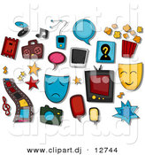 Vector Clipart of 15+ Entertainment Icons - Digital Collage by BNP Design Studio