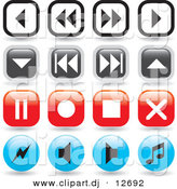 Vector Clipart of 16 Music Player Icon Buttons - Round and Square Designs - Digital Collage by Arena Creative