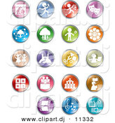 Vector Clipart of 19 Unique Entertainment and Business Circle Button Icons by Alexia Lougiaki