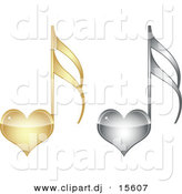 Vector Clipart of 2 Love Heart Music Notes - Gold and Silver by Andrei Marincas