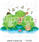 Vector Clipart of 3 Cartoon Green Frogs Playing Music on Lily Pads by BNP Design Studio