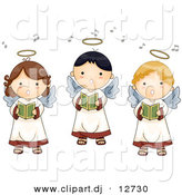Vector Clipart of 3 Cartoon Singing Angel Boys and Girls by BNP Design Studio