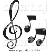 Vector Clipart of 3 Music Notes - Black and White Collage by Alexia Lougiaki