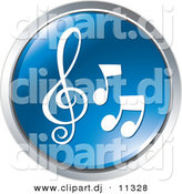 Vector Clipart of 3 Music Notes - Blue Website Button Icon by Alexia Lougiaki