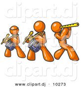 Vector Clipart of 3 Orange Men Playing Flutes and Drums by Leo Blanchette